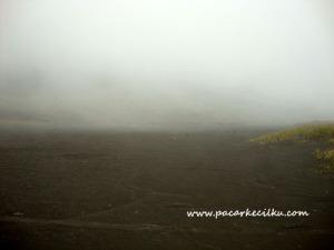 kabut yang turun disepanjang lautan pasir