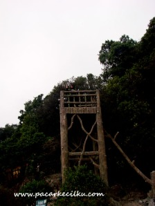 tangga dari kayu untuk menuju Kawah Domas